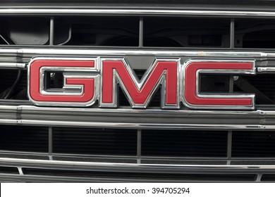 Phoenix, Arizona, USA - March 06, 2016: Close up of GMC logo on pick-up.