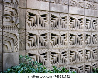 Phoenix, Arizona USA - March 7, 2012: Detail of the patterned concrete textile block of the Arizona Biltmore Hotel inspired by designs by Frank Lloyd Wright