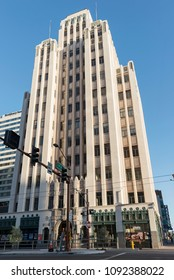 Phoenix, Arizona / USA - May 14, 2018: Luhrs tower in Downtown Phoenix. Established in 1924, the 10-story neoclassical Luhrs Buildings and the 14-story Art Deco Luhrs Tower (1929) have been restored.