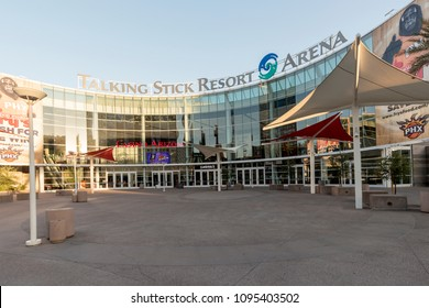 Phoenix, Arizona, USA - May 14, 2018: The Talking Stick Resort Arena is a sports and entertainment arena in downtown Phoenix. It opened on June 6, 1992, at a construction cost of $89 million.