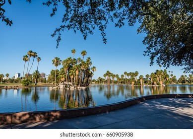 Phoenix, Arizona: A view of the lake in Encanto Park, which has been named by Forbes Magazine as one of America's best city parks.