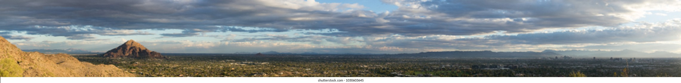 Phoenix, Arizona,USA. Hi Res Super wide Panoramic landscape Aerial viewpoint. Facing South from Phoenix Mountain Reserve.