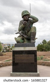 PHOENIX, ARIZONA,USA-DECEMBER 4: The memorial to Navajo Code Talkers sit in Wesley Bolin Plaza on December 4, 2013. The Navajo language was never decoded by US enemies during the war.