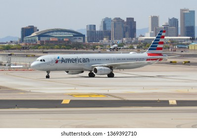 Phoenix, Ariz./USA-April 14, 2019: An American Airlines Airbus 321 taxis at Sky Harbor International Airport.