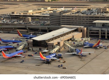 PHOENIX - AUGUST 1: Southwest Airlines operates a busy terminal in Phoenix, Arizona seen on August 1, 2017