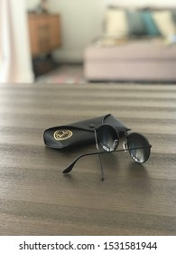 Phoenix, AZ 10/15/2019: RB3447 Ray Ban Round Retro Sunglasses on wood table in my home