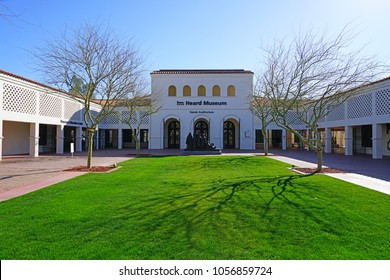 PHOENIX, AZ -23 FEB 2018- View of the Heard Museum, a private, not-for-profit museum dedicated to the advancement of American Indian art in the Sonora Desert near Scottsdale, Arizona.