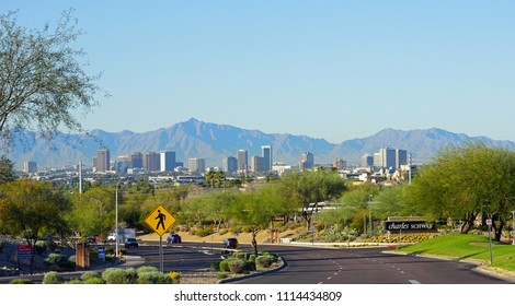 PHOENIX, AZ -23 FEB 2018- View of the downtown Phoenix skyline area from a road in Arizona.