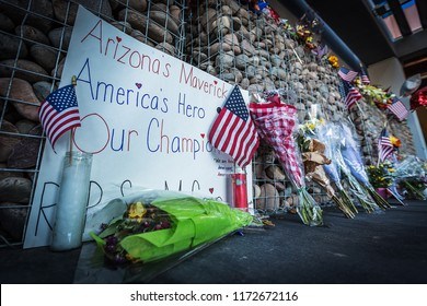 PHOENIX, AZ - AUG. 28, 2018: A memorial for former Arizona Senator John McCain outside his office. Senator McCain died of brain cancer at the age of 81.