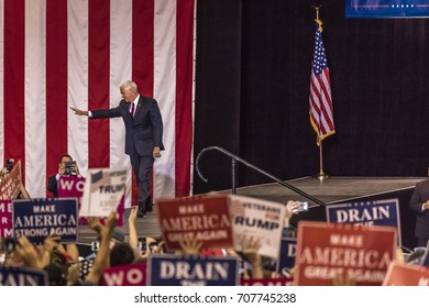 PHOENIX, AZ - AUGUST 22, 2017: U.S. Vice President Mike Pence waves & welcomes supporters at a rally by President Donald Trump at the Phoenix Convention Center during a 2020 Trump rally