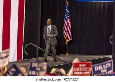 PHOENIX, AZ - AUGUST 22, 2017: Secretary of Housing and Urban Development Ben Carson appears before a crowd of supporters at the Phoenix Convention Center during a 2020 Trump rally