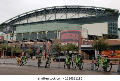 PHOENIX, AZ - FEBRUARY 14, 2019:  Quick bicycle rental stand in Phoenix downtown next to home of the Arizona Diamondbacks Chase Arena