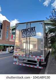 Phoenix, AZ - FEBRUARY 28, 2018: Concert Logistique truck trailer from Canadian city of Quebec parked near Talking Stick Resort Arena along Jackson street after delivering props for a next show