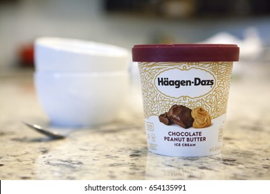 Phoenix, AZ - June ,  2017: Container of Haagen Dazs Peanut Butter Ice Cream