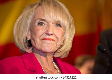 PHOENIX, AZ - NOVEMBER 2: Arizona Governor Jan Brewer celebrates victory in her 2010 election campaign on November 2, 2010 in Phoenix, Arizona.