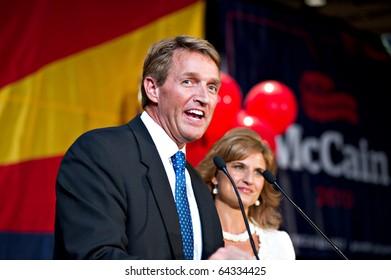 PHOENIX, AZ - NOVEMBER 2: Congressman Jeff Flake celebrates victory in his 2010 election campaign on November 2, 2010 in Phoenix, Arizona.