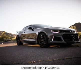 Phoenix, AZ/ USA - April 13, 2019:  A Chevrolet Camaro cruising in the Arizona Sunshine.