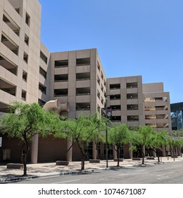 PHOENIX, AZ, USA - APRIL 18, 2018: Downtown multilevel above ground parking garage with stair well on its side