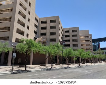 PHOENIX, AZ, USA - APRIL 18, 2018: Multilevel parking garage next to Chase Field home of Diamondbacks Baseball Team in Phoenix downtown, Arizona