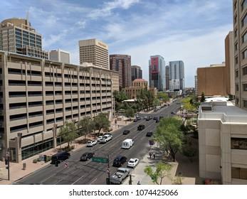PHOENIX, AZ, USA - APRIL 19, 2018: Jefferson Street east of 4th Avenue intersection in Phoenix downtown, Arizona capital city