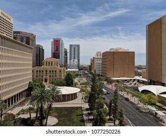 PHOENIX, AZ, USA – APRIL 19, 2018: Jefferson Street east of 4th Avenue intersection in Phoenix downtown, Arizona capital city