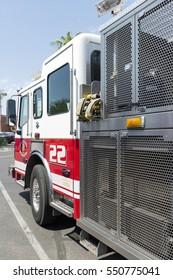 Phoenix, AZ, USA - August 25, 2016: A fire truck standing in the streets of Phoenix, Arizona, USA