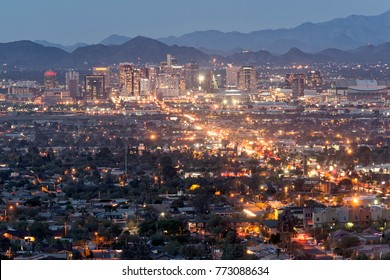Phoenix, AZ, USA - December 12, 2017: Phoenix downtown during blue hour. Phoenix is the capital of the southwestern U.S. state of Arizona.