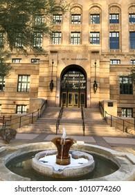 PHOENIX, AZ, USA - DECEMBER 14, 2017: Entrance to historic Maricopa County Court House from Washington Street in Phoenix downtown, Arizona