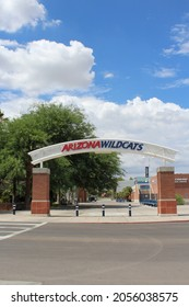 Phoenix AZ: USA: July 4, 2021 – Arched sign greets visitors to University of Arizona Wildcats Hillenbrand Aquatic Center, one of the premier outdoor swimming facilities in the nation. NCAA Pac-12