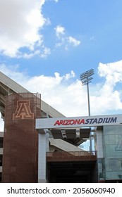 Phoenix AZ: USA: July 4, 2021 – Entrance sign and logo for Arizona Stadium, home of Wildcat football, built in 1928. Stadium is in heart of Phoenix and combines old style charm with modern convenience