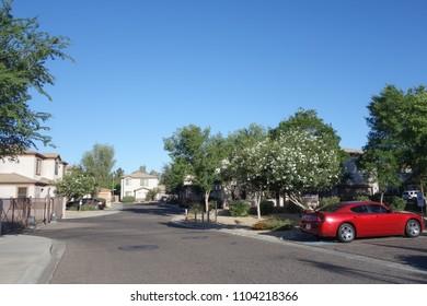 PHOENIX, AZ, USA – JUNE 3, 2018: Small residential housing community in Phoenix, capital city of Arizona