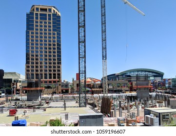 PHOENIX, AZ, USA - MARCH 30, 2018: Construction site of a new building in downtown of Phoenix, Arizona