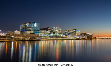 PHOENIX, AZ, USA - NOV 19, 2016: Downtown Panorama of Phoenix at night with Tempe Town Lake Salt River. Downtown Phoenix is the central business district in the heart of the Phoenix metropolitan area.