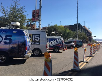 PHOENIX, AZ, USA - OCTOBER 4,  2017:  Local major news TV agencies parked next to DBack Arena in anticipation of Do Or Die game, Phoenix downtown