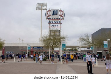 PHOENIX, AZ/USA - March 7, 2018: Fans enter Maryvale Stadium, the spring training home of the Milwaukee Brewers.