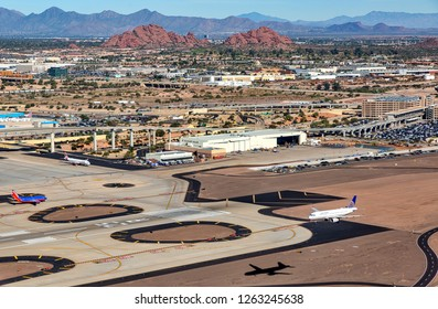 Phoenix, AZ/USA-12.20.18-One of the busiest travel days of the year for Sky Harbor International Airport in Phoenix, Arizona