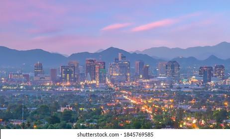 Phoenix city downtown skyline cityscape of Arizona in USA at sunset