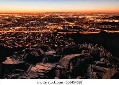 Phoenix city lights, highways, from piestewa peak mountain, view.