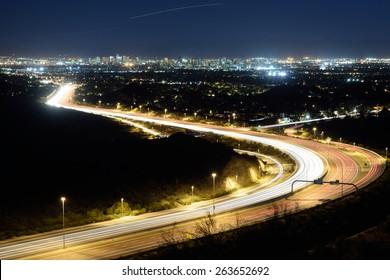 Phoenix city skyline and highway (night version)