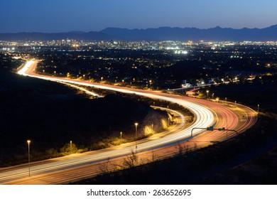 Phoenix city skyline and highway (twilight version)