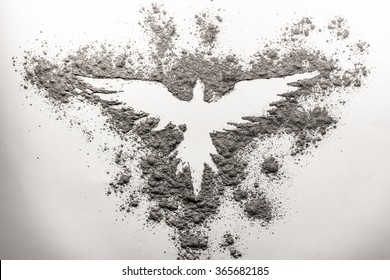 Phoenix drawing made in ash on a white background