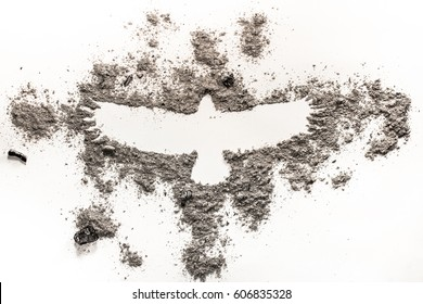 Phoenix, eagle bird drawing in grey ash as fire, extinction, birth, life and death concept background