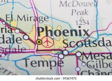 Phoenix map on World's atlas