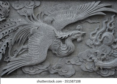 Phoenix marble carving wall, Decorative Chinese art style at Chinese public temple