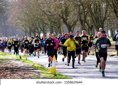 Phoenix PArk, Dublin/ Ireland - March 9th 2019: Racers of all sorts taking part in the annual Simon Home Run 8k race in Phoenix Park, Dublin, Ireland.