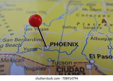 Phoenix pinned on a map, city of Arizona