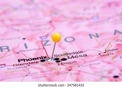 Phoenix pinned on a map of USA