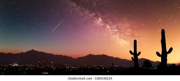 Phoenix Sunset with Milky Way galaxy