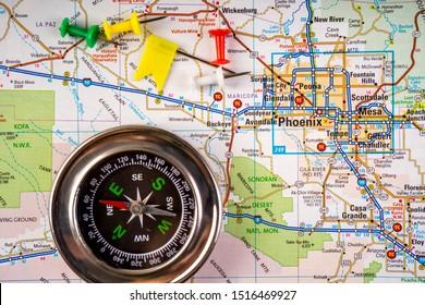 Phoenix USA map travel background