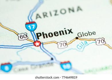 Phoenix. USA on a map.